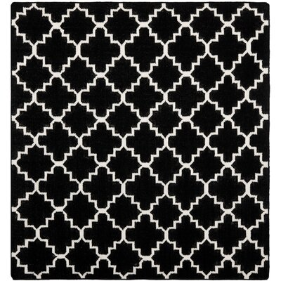 Dhurries Black/Ivory Area Rug Rug Size: Square 8