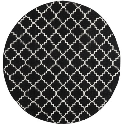 Dhurries Black/Ivory Area Rug Rug Size: Round 8
