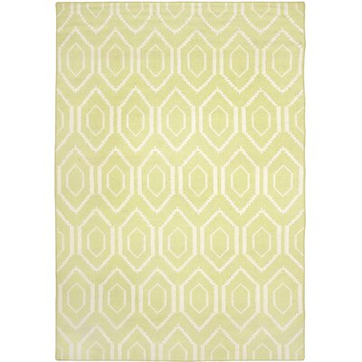 Hand-Woven Wool Green/Ivory Area Rug Rug Size: Rectangle 5 x 8