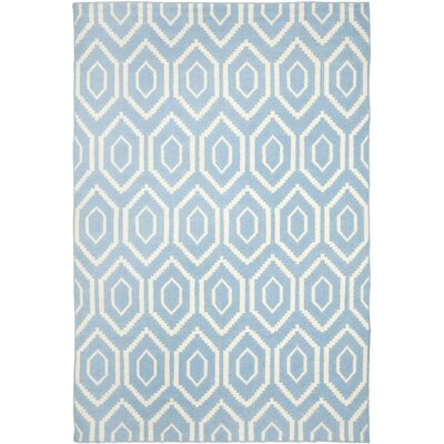 Gem Jam Hand-Woven Wool Blue/Ivory Area Rug Rug Size: Rectangle 8 x 10