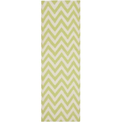 Dhurries Green/Ivory Outdoor Area Rug Rug Size: Runner 26 x 12