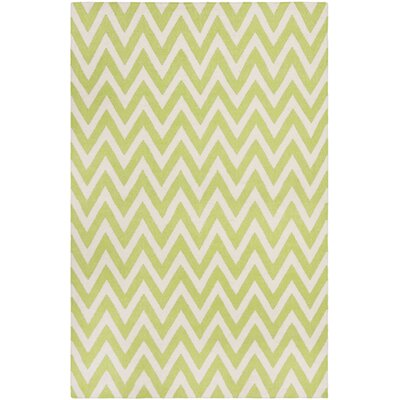 Moves Like Zigzagger Hand-Woven Wool Green/Ivory Area Rug Rug Size: Rectangle 26 x 4
