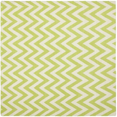 Moves Like Zigzagger Hand-Woven Wool Green/Ivory Area Rug Rug Size: Square 8