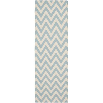Dhurries Hand-Woven Wool Blue/Ivory Area Rug Rug Size: Runner 26 x 8