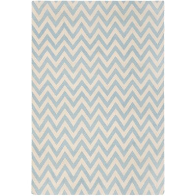 Dhurries Blue/Ivory Outdoor Area Rug Rug Size: Runner 26 x 10