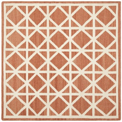 Dhurries Tan/Ivory Area Rug Rug Size: Square 6