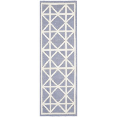 Dhurries Hand-Woven Wool Purple/Ivory Area Rug Rug Size: Runner 26 x 8