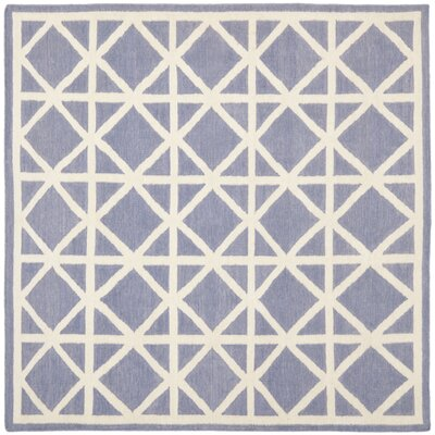 Dhurries Hand-Woven Wool Purple/Ivory Area Rug Rug Size: Square 6