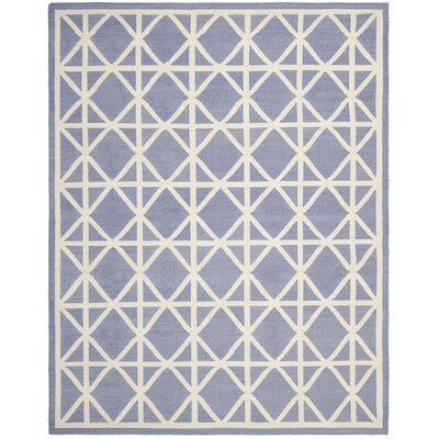 Dhurries Hand-Woven Wool Purple/Ivory Area Rug Rug Size: Rectangle 9 x 12