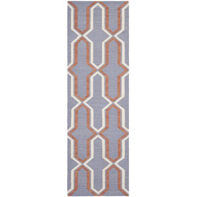 Dhurries Hand-Woven Wool Purple/Tan Area Rug Rug Size: Runner 26 x 14