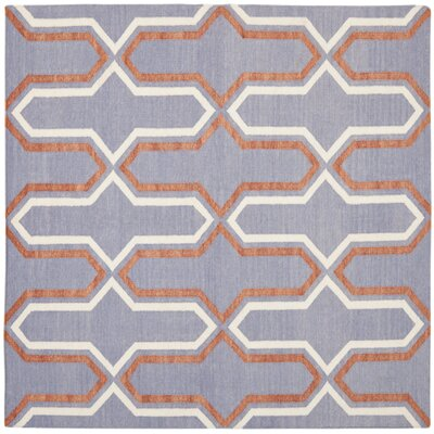 Dhurries Hand-Woven Wool Purple/Tan Area Rug Rug Size: Square 6
