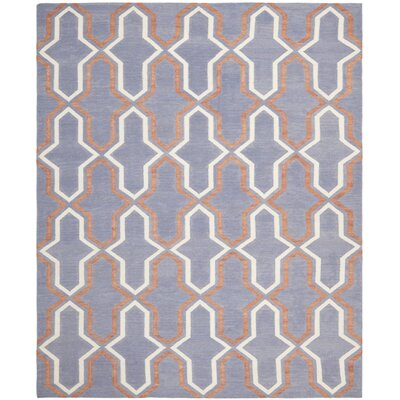 Dhurries Hand-Woven Wool Purple/Tan Area Rug Rug Size: Runner 26 x 6