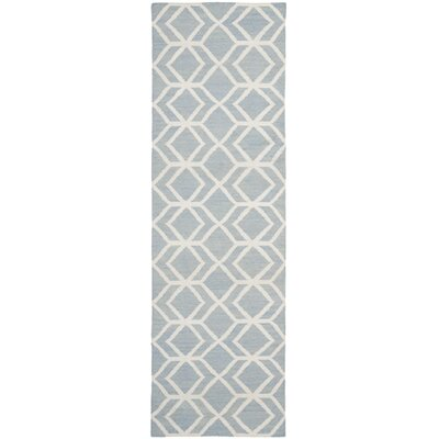 Dhurries Dhurrie Wool Blue/Ivory Area Rug Rug Size: Runner 26 x 12