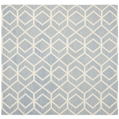 Dhurries Dhurrie Wool Blue/Ivory Area Rug Rug Size: Square 6