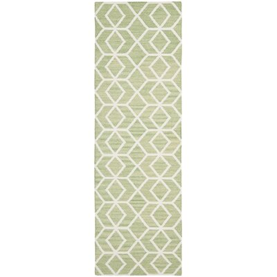Dhurries Sage/Ivory Area Rug Rug Size: Runner 26 x 8
