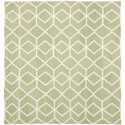 Dhurries Sage/Ivory Area Rug Rug Size: Square 6