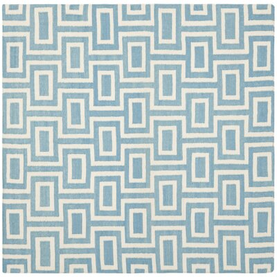 Dhurries Light Blue/Ivory Area Rug Rug Size: Square 8' x 8'