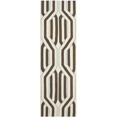 Dhurries Ivory/Brown Area Rug Rug Size: Runner 26 x 8