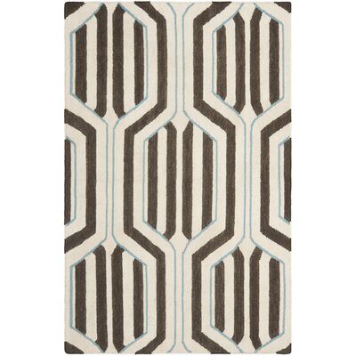 Dhurries Ivory/Brown Area Rug Rug Size: Rectangle 3 x 5