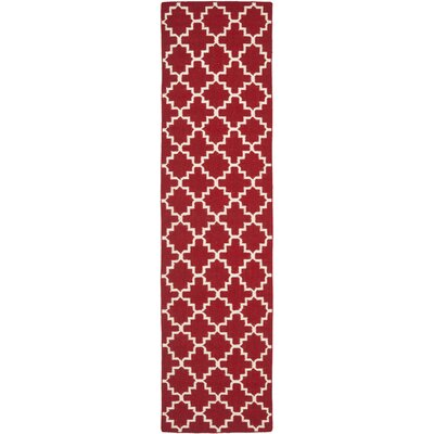 Dhurries Red/Ivory Area Rug Rug Size: Runner 26 x 10