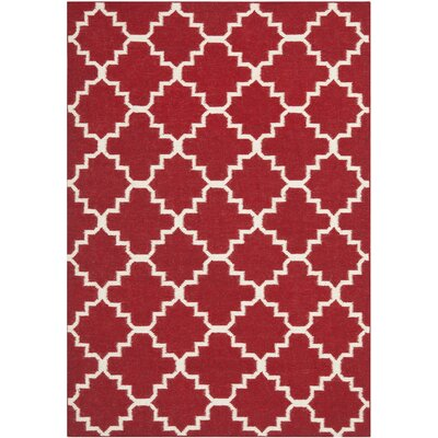 Dhurries Red/Ivory Rug Rug Size: 5' x 8' image