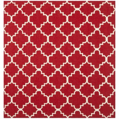 Dhurries Red/Ivory Area Rug Rug Size: Square 8