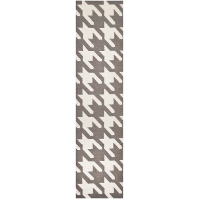 Dhurries Purple/Ivory Area Rug Rug Size: Square 6