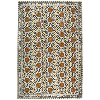 Helena Floral Handmade Wool Ivory/Blue Area Rug Rug Size: Rectangle 6 x 9