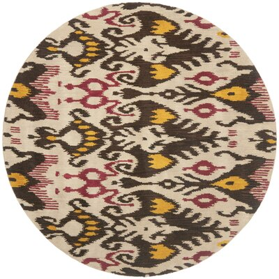 Ikat Hand-Woven Wool Beige/Brown Area Rug Rug Size: Round 6