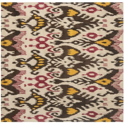 Ikat Beige/Brown Area Rug Rug Size: Square 6
