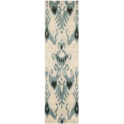 Ikat Beige/Slate Area Rug Rug Size: Runner 23 x 12