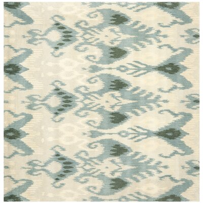 Ikat Beige/Slate Area Rug Rug Size: Square 6