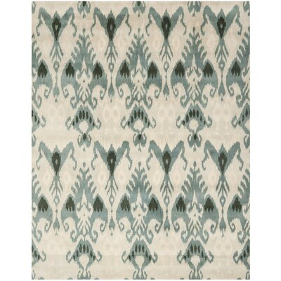 Ikat Beige/Slate Area Rug Rug Size: Rectangle 6 x 9