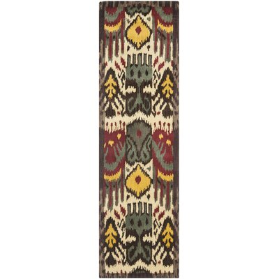 Ikat Hand-Woven Wool Creme/Brown Rug Rug Size: Runner 23 x 8