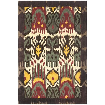 Ikat Hand-Woven Wool Creme/Brown Rug Rug Size: Rectangle 2 x 3