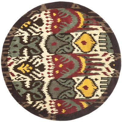 Ikat Hand-Woven Wool Creme/Brown Rug Rug Size: Round 6