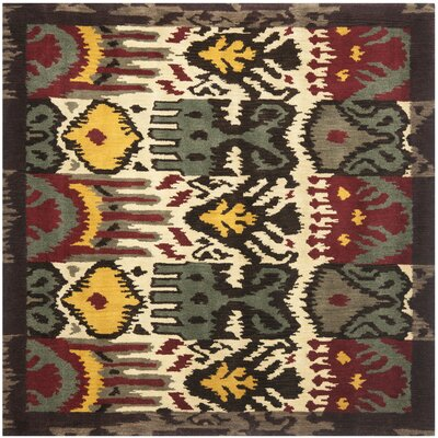 Ikat Hand-Woven Wool Creme/Brown Rug Rug Size: Square 6'