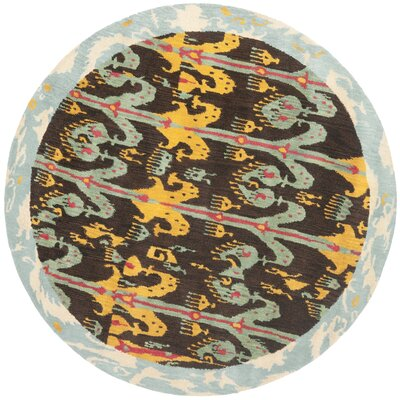 Ikat  Hand-Tufted Charcoal/Yellow Area Rug Rug Size: Round 6'