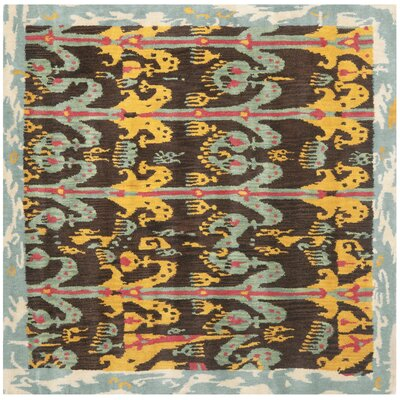Ikat Charcoal/Blue Area Rug Rug Size: Square 6