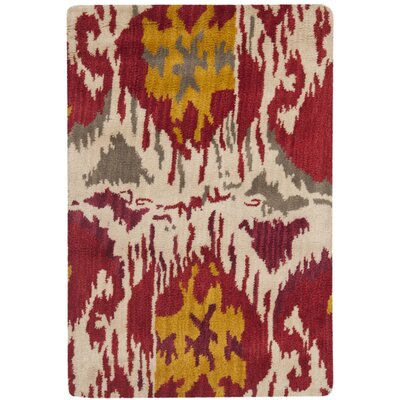 Ikat Ivory/Red Area Rug Rug Size: Rectangle 3 x 5