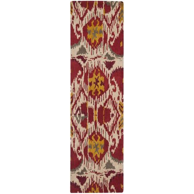 Ikat Ivory/Red Area Rug Rug Size: Runner 23 x 8