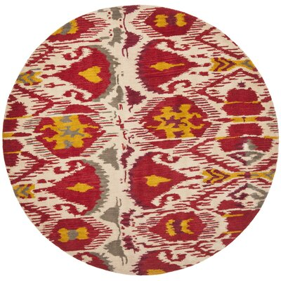 Ikat Ivory/Red Area Rug Rug Size: Round 6'