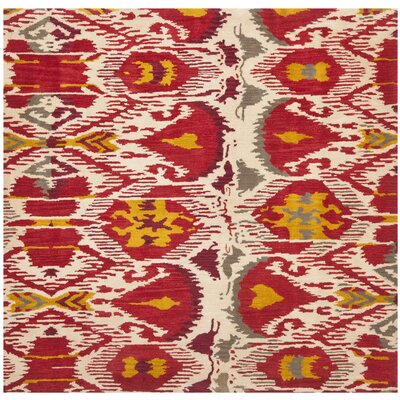 Ikat Ivory/Red Area Rug Rug Size: Square 6'