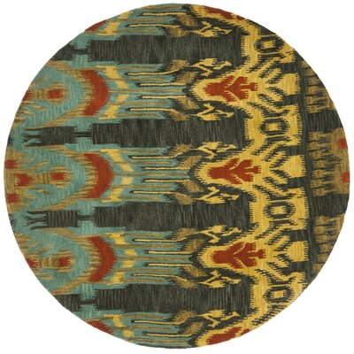 Ikat Hand Tufted Wool Olive/Gold Indoor/Outdoor Area Rug Rug Size: Round 6