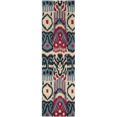 Ikat Beige & Blue Area Rug Rug Size: Runner 23 x 8