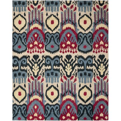 Ikat Beige & Blue Area Rug Rug Size: Rectangle 5 x 8