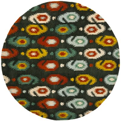Ikat Charcoal Area Rug Rug Size: Round 6