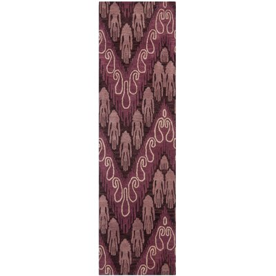 Ikat Dark Brown/Purple Area Rug Rug Size: Runner 23 x 8