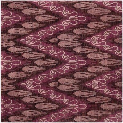 Ikat Dark Brown/Purple Area Rug Rug Size: Square 6