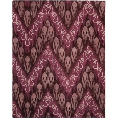 Ikat Dark Brown/Purple Area Rug Rug Size: 5 x 8